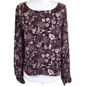 Forever 21 Burgundy Wine Floral Lightweight Top S